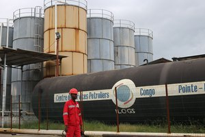 Oil worker at Port autonome de Pointe Noire, Congo B