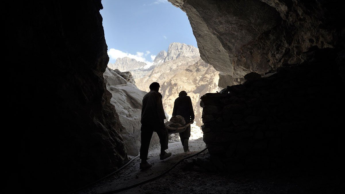 Two men at lapis mine in Afghanistan