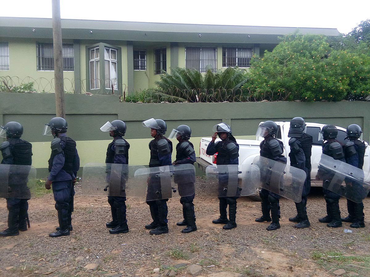 Police outside Senator Varney Sherman's house, Liberia
