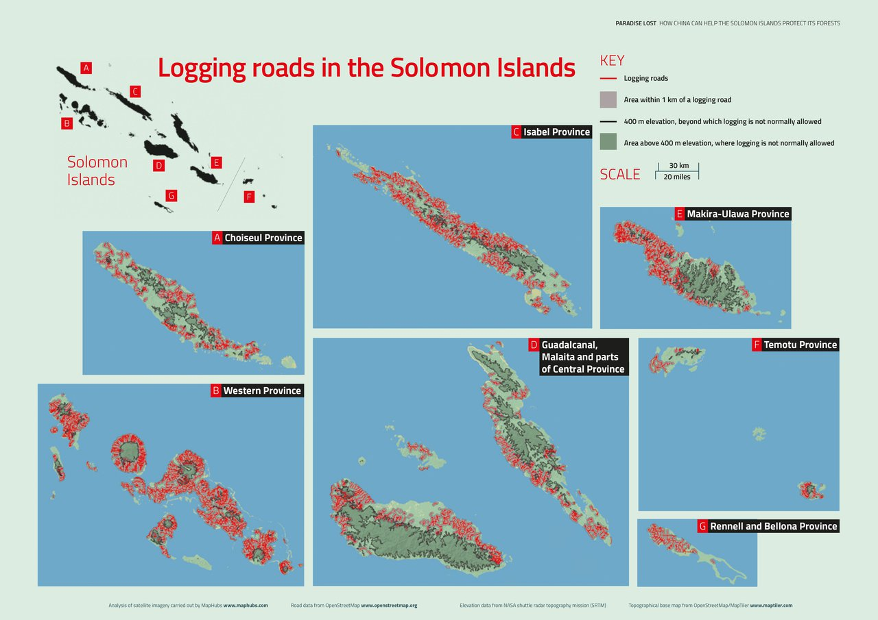 Logging roads in the Solomon Islands