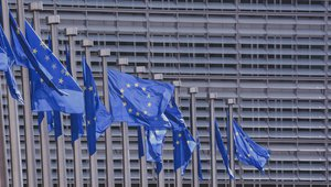 EU flags in Brussels.