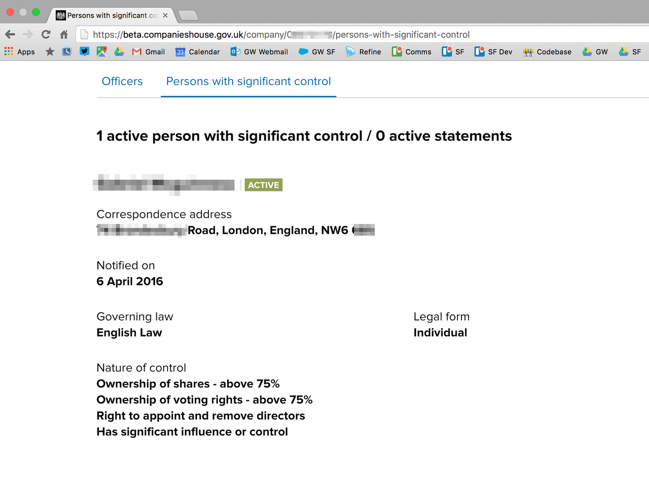 Companies House BO data web interface screenshot