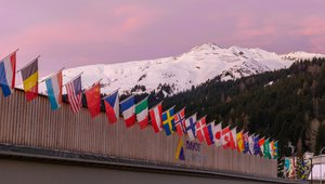 World flags outside WEF Davos conference centre
